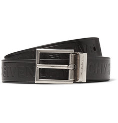 3cm Black Reversible Embossed Smooth And Full-grain Leather Belt - Black