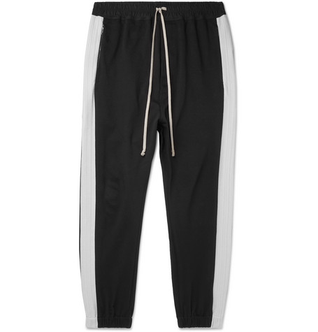 Rick Owens Tapered Striped Loopback Cotton-Jersey Track Pants