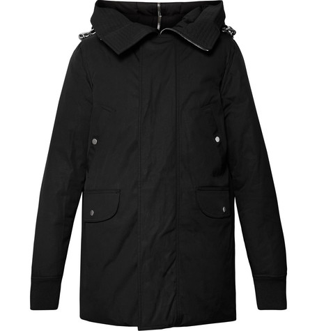 Cotton Blend Canvas Hooded Down Jacket by Rick Owens