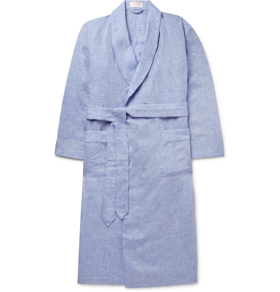 Slub Linen Robe - Blue