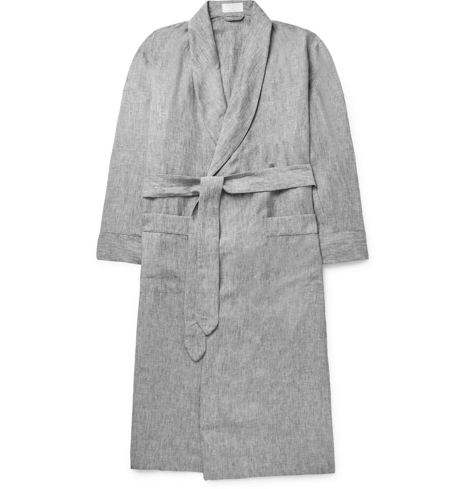 Slub Linen Robe - Gray
