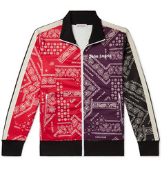 Palm Angels Slim-Fit Webbing-Trimmed Printed Tech-Jersey Track Jacket