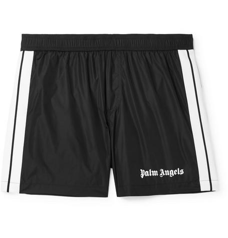 f9701e06223 Palm Angels - Slim-Fit Short-Length Striped Logo-Print Swim Shorts