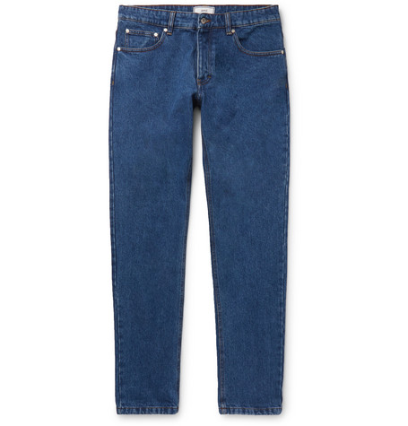 AMI PARIS | AMI - Slim-Fit Washed Denim Jeans - Blue | Goxip