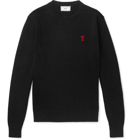 AMI PARIS | AMI - Slim-Fit Logo-Appliquéd Merino Wool Sweater - Black | Goxip