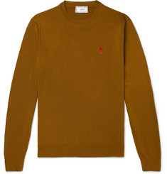 AMI Slim-Fit Logo-Appliquéd Merino Wool Sweater