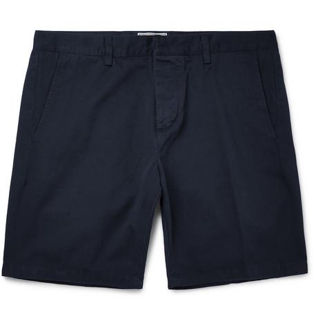 AMI PARIS | AMI - Slim-Fit Cotton-Twill Bermuda Shorts - Navy | Goxip