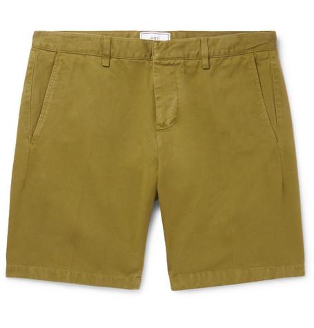 AMI PARIS | AMI - Slim-Fit Cotton-Twill Bermuda Shorts - Green | Goxip
