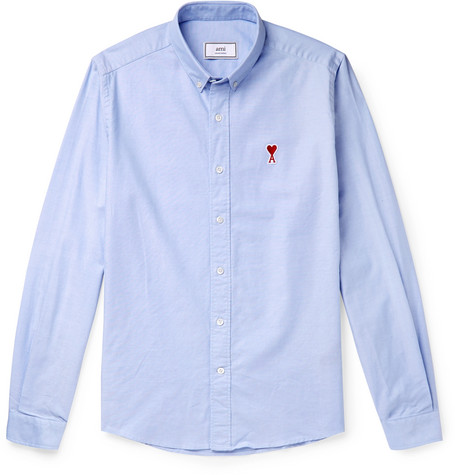 Button Down Collar Logo Appliquéd Cotton Oxford Shirt by Ami
