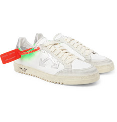 Off-White - 2.0 Distressed Suede-Trimmed Leather Sneakers