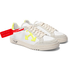 Off-White 2.0 Distressed Suede-Trimmed Canvas Sneakers