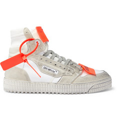 Off-White Off-Court 3.0 Distressed Suede, Leather and Canvas High-Top Sneakers
