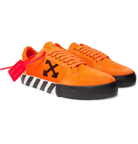 Suede And Canvas Sneakers - Orange