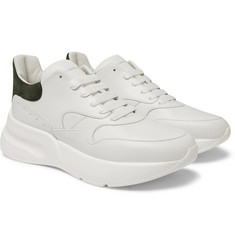 Alexander McQueen Exaggerated-Sole Suede-Trimmed Leather Sneakers