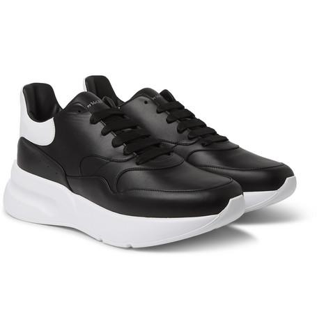 ALEXANDER MCQUEEN | Alexander McQueen - Exaggerated-Sole Leather Sneakers - Black | Goxip