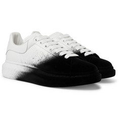Alexander McQueen - Exaggerated-Sole Leather and Velvet Sneakers