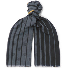 Paul Smith Fringed Striped Wool-Blend Jacquard Scarf