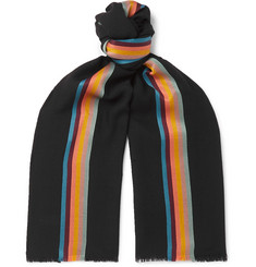 Paul Smith Fringed Striped Herringbone Virgin Wool and Silk-Blend Scarf