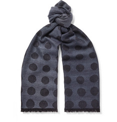 Paul Smith Fringed Polka-Dot Wool and Silk-Blend Jacquard Scarf
