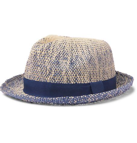 29c697a6 Paul Smith Grosgrain-Trimmed ÉLange Straw Trilby Hat - Blue ...