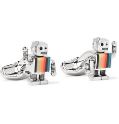 Paul Smith - Robot Silver-Tone and Enamel Cufflinks