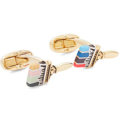 Paul Smith Enamel, Gold and Silver-Tone Cufflinks