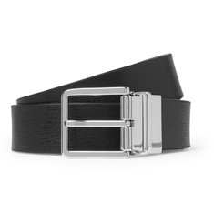 3cm Black And Dark-green Reversible Leather Belt - Black