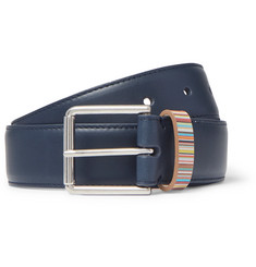 3cm Navy Stripe-trimmed Leather Belt - Navy