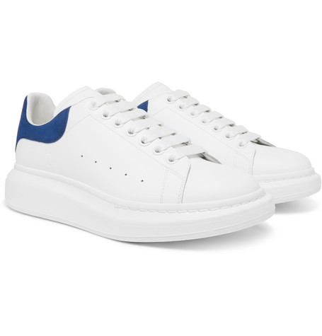 Exaggerated Sole Suede Trimmed Leather Sneakers by Alexander Mc Queen