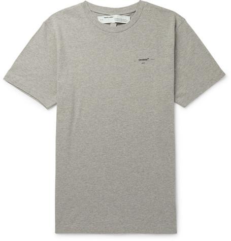 46b19c5b Off-White - Logo-Print Mélange Cotton-Jersey T-Shirt