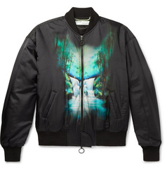 Off-White Oversized Printed Satin Bomber Jacket