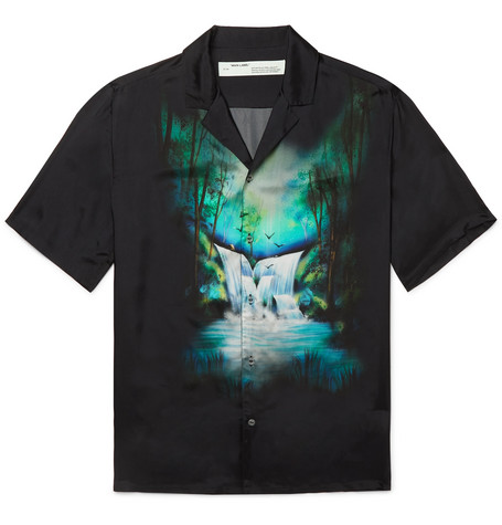 Camp Collar Printed Twill Shirt by Off White