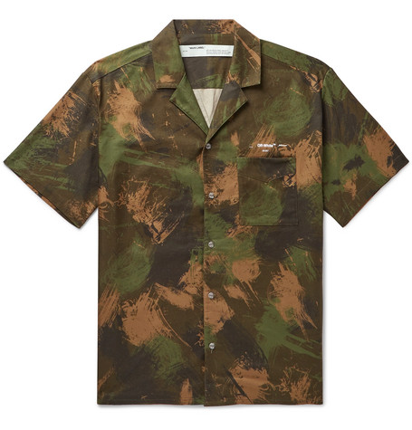 OFF-WHITE | Off-White - Camp-Collar Camouflage-Print Cotton Shirt - Green | Goxip