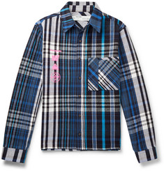 Off-White Printed Checked Cotton-Blend Flannel Shirt