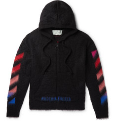 Off-White - Printed Brushed Mohair-Blend Zip-Up Hoodie