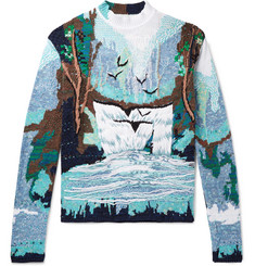 Off-White Oversized Embroidered Intarsia Cotton-Blend Sweater
