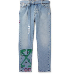 Off-White Slim-Fit Tapered Belted Spray-Painted Denim Jeans