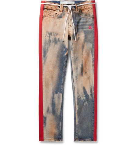 OFF-WHITE | Off-White - Slim-Fit Striped Bleached Denim Jeans - Blue | Goxip