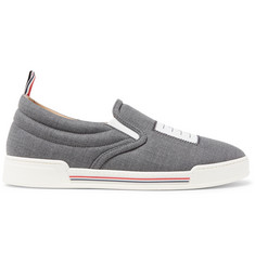 3223ca69f530e Thom Browne Logo-Appliquéd Wool Slip-On Sneakers