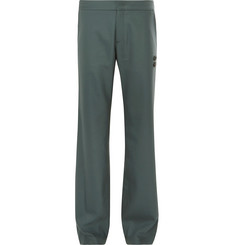 Off-White Grey-Green Virgin Wool-Blend Suit Trousers