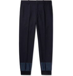 Alexander McQueen Navy Tapered Shell-Trimmed Virgin Wool Trousers