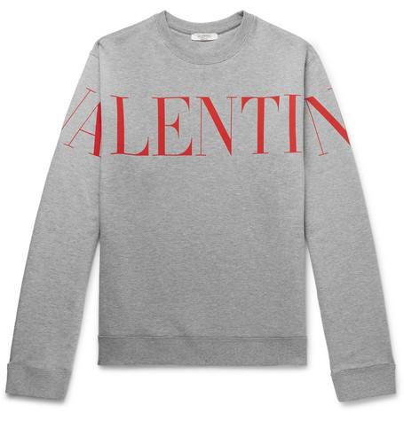 VALENTINO | Valentino - Logo-Print Mélange Loopback Cotton-Blend Jersey Sweatshirt - Gray | Goxip