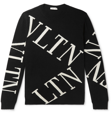 f9a6593588ccf Valentino - Slim-Fit Intarsia Wool and Cashmere-Blend Sweater