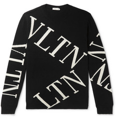 Valentino Slim-Fit Intarsia Wool and Cashmere-Blend Sweater