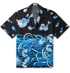Valentino Oversized Camp-Collar Printed Silk Shirt