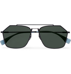 Fendi Square-Frame Metal Polarised Sunglasses