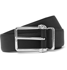 3cm Black Full-grain Leather Belt - Black