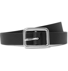 2cm Black Full-grain Leather Belt - Black