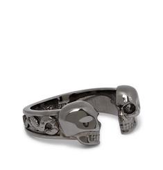 Skull Gunmetal-tone Ring - Black