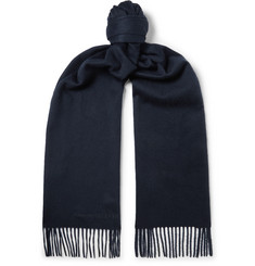 Alexander McQueen Fringed Logo-Embroidered Cashmere Scarf